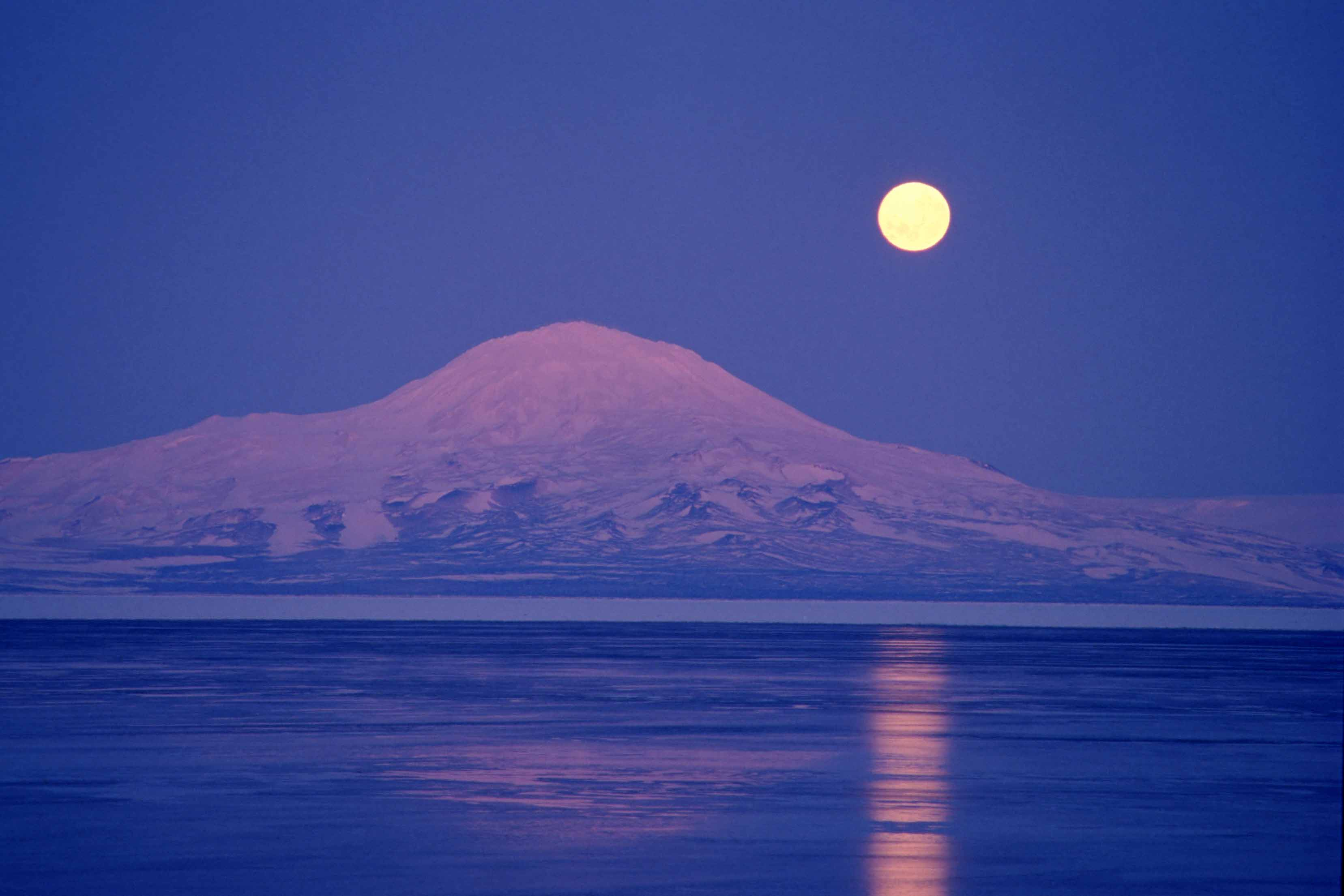 Moonrise over McMurdo Sound, early winter