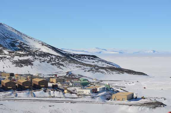 McMurdo Station from the Arrival Heights hiking trail.